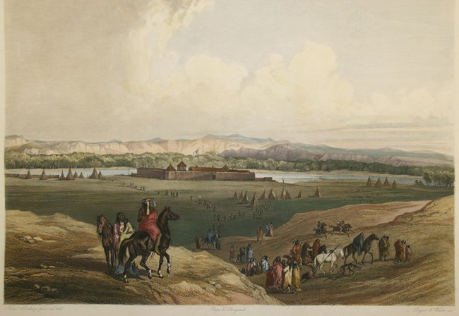 Foreground of landscape painting shows Assiniboine traveling through on horseback and foot though a valley twords Fort Union in center of painting, Missouri River in background.