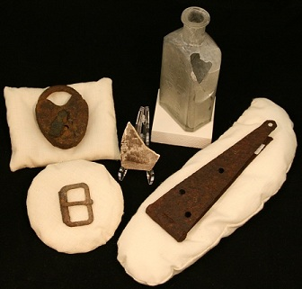 Various artifacts recovered during Fort Union excavations.