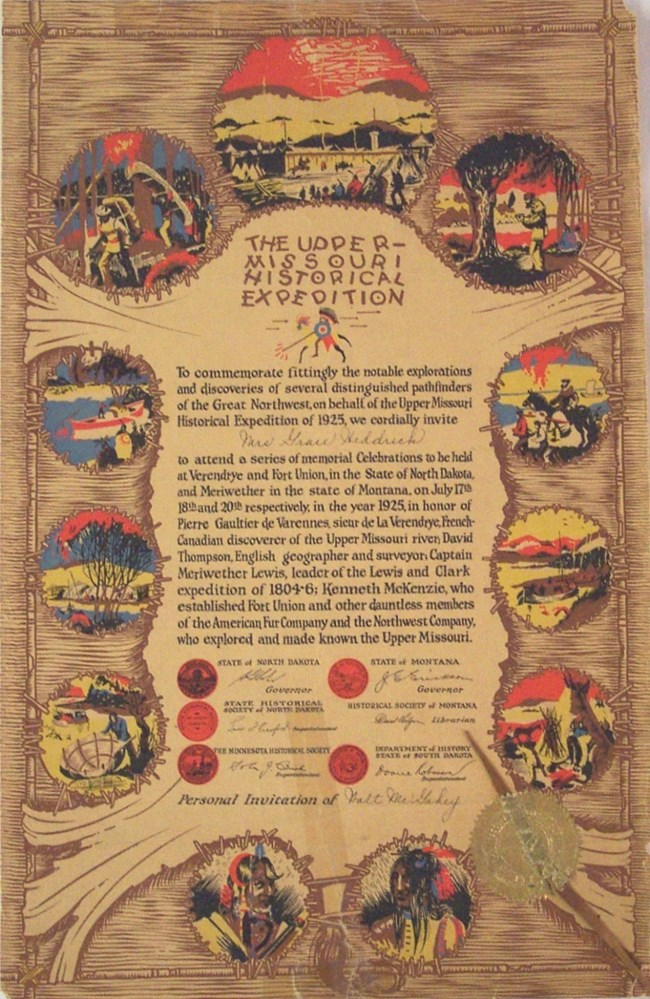 1925 Upper Missouri Historical Expedition invitation. Brightly colored invitation on brown paper made to look like a stretched buffalo robe.