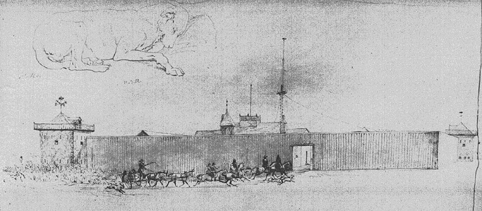 R.F. Kurz's sketch of a party approaching Fort Union's main gate.