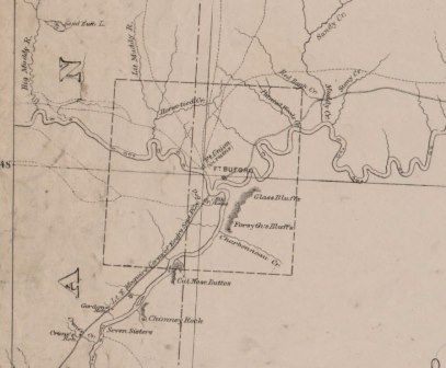 1878 Map showing location of Glass Bluffs relative to Fort Union.