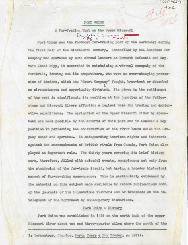 Page one of Elizabeth C. Morison's 1935 Fort Union report. Typewritten with handwritten notation and edit marks in red and blue ink at top of page.