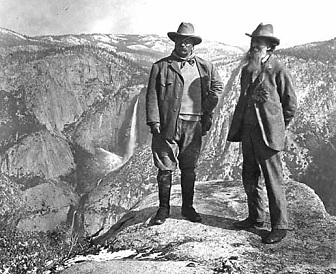Theodore Roosevelt with John Muir at Yosemite in 1906