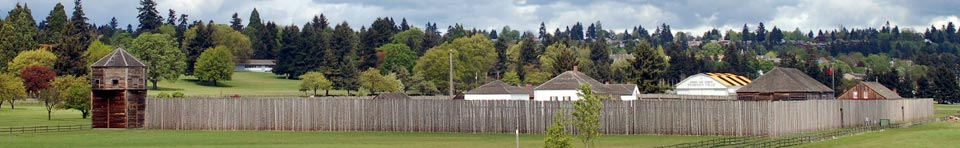 Image of the reconstructed stockade at Fort Vancouver and Pearson Air Museum looking northeast from the Land Bridge.