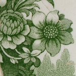 Detail of flower graphic on historic green transfer print tablewear