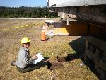 NCRI Archaeologist Cheryl Paddock conducts archaeological test excavations at American Camp in San Juan Island National Historical Park