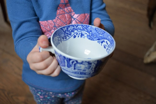 Photo of small child holding a blue and white teacup.