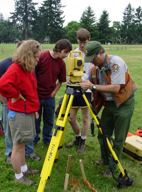 Image of Dr. Doug Wilson and students using a laser total station to map in an excavation