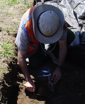 Image of VNHR Archaeologist Dr. Doug Wilson on a recent archaeological excavation