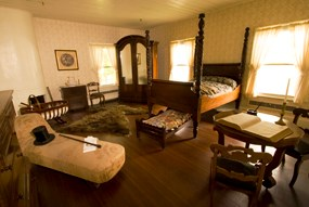 View of bedroom furnishings at the McLoughlin House