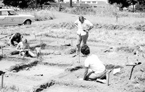 Image of archaeologists in the Village area in the 1960s