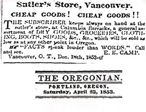 A newspaper advertisement placed by Elish camp, the sutler at Fort Vancouver