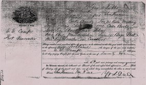 copy of a shipping receipt used by a sutler at Fort Vancouver