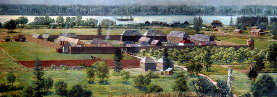 Bird's eye view of the Fort Vancouver stockade, buildings, and Village during the fur trade era. Artist's representation is a vew from the north looking south across the fort to the Columbia River.