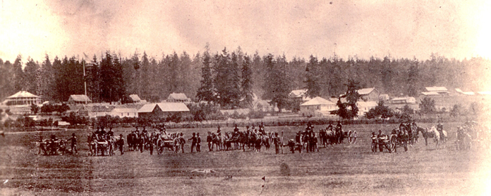 Historic image of soldiers from Battery C, 3rd US Artillery in formation at Fort Vancouver in 1860.