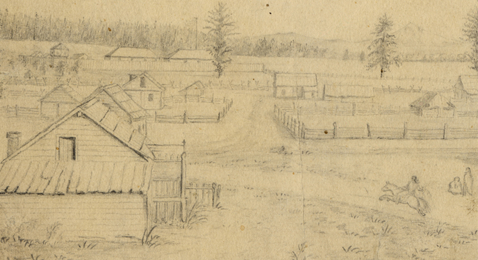 Historic pencil sketch of the Village, looking east toward the HBC Fort Vancouver and Mt Hood in the1850s.