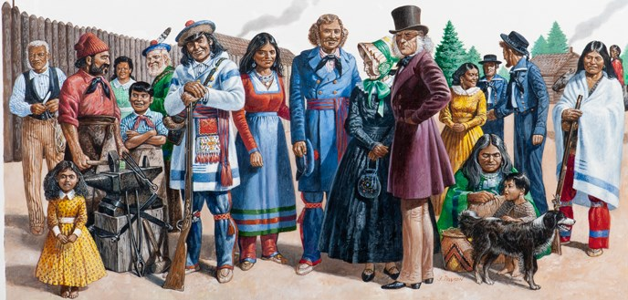 Artist's painting of several people from different cultures standing side-by-side at Fort Vancouver.