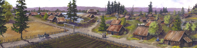 Artists rendering of a bird's-eye view of the east end of the Village looking east to west. Image includes several buildings, dirt roads, and figures.