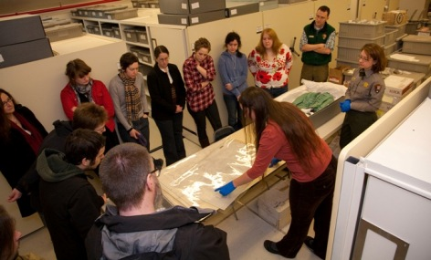 PSU students in Fort Vancouver's Museum Collections storage