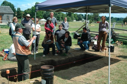 Archaeologist Dr. Doug Wilson teaches Public Archaeology Field School students