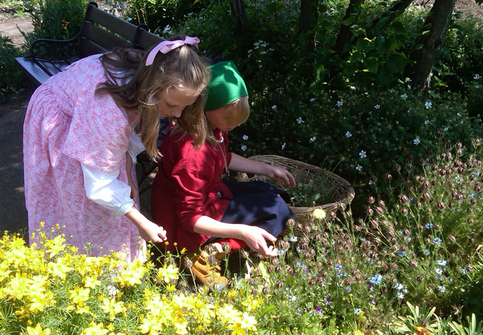 Two girls pick flowers in the park garden.