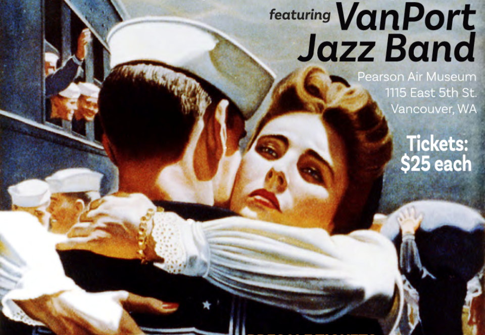 1940's illustration of Sailor and woman hugging with text about the VanPort Jazz Band