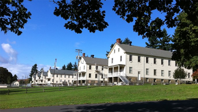 Contemporary image of the exterior of barracks buildings in East Vancouver Barracks