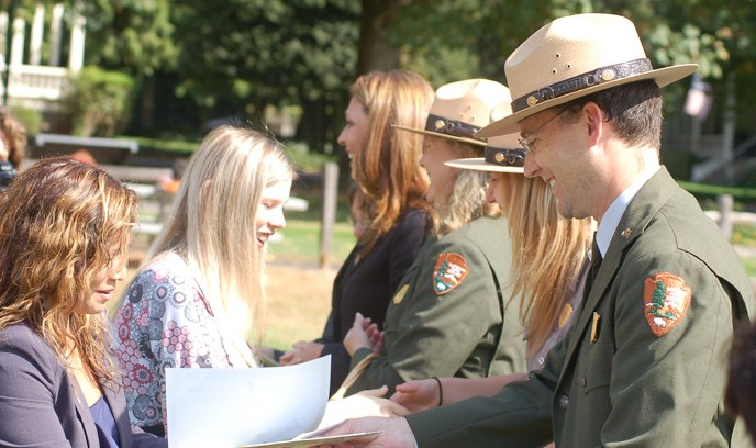National Park Service staff welcome new citizens as part of the 2011 Citizenship Ceremony at Fort Vancouver National Historic Site