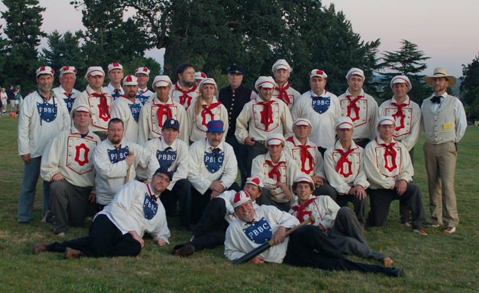 Team photo of costumed participants portraying members of the Pioneer and Occidental Base Ball Clubs.