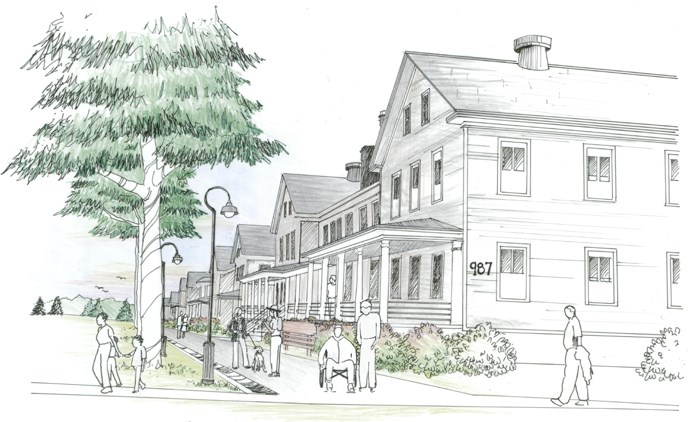 An artist's representation of Barracks Row from the west, looking east, with building 987 in the foreground.