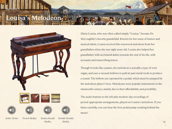 Image of page 20 from The McLoughlin Family Collection, showing the family's melodeon.