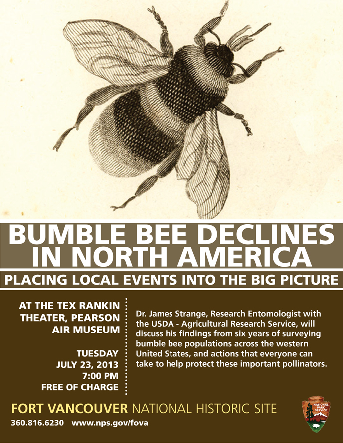 Poster advertising the 7/23 bumble bee evening talk