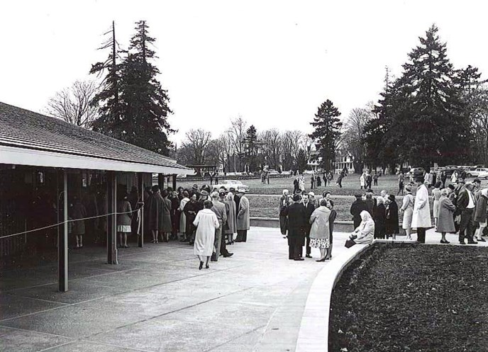 Image of the front (north) side of the Visitor Center at its dedication on 19 March 1962.