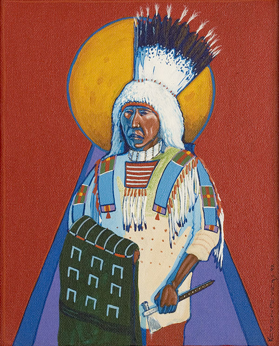 Painting of a man wearing Nez Perce regalia holding a hatchet.
