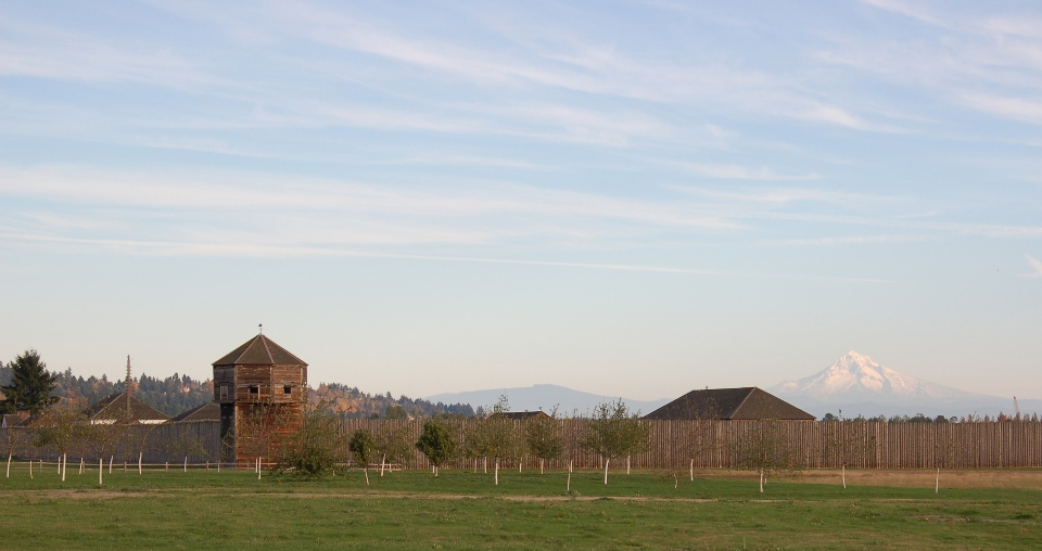 View of Fort Vancouver with Mount Hood in background