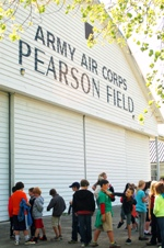 Field trip students at Pearson Air Museum