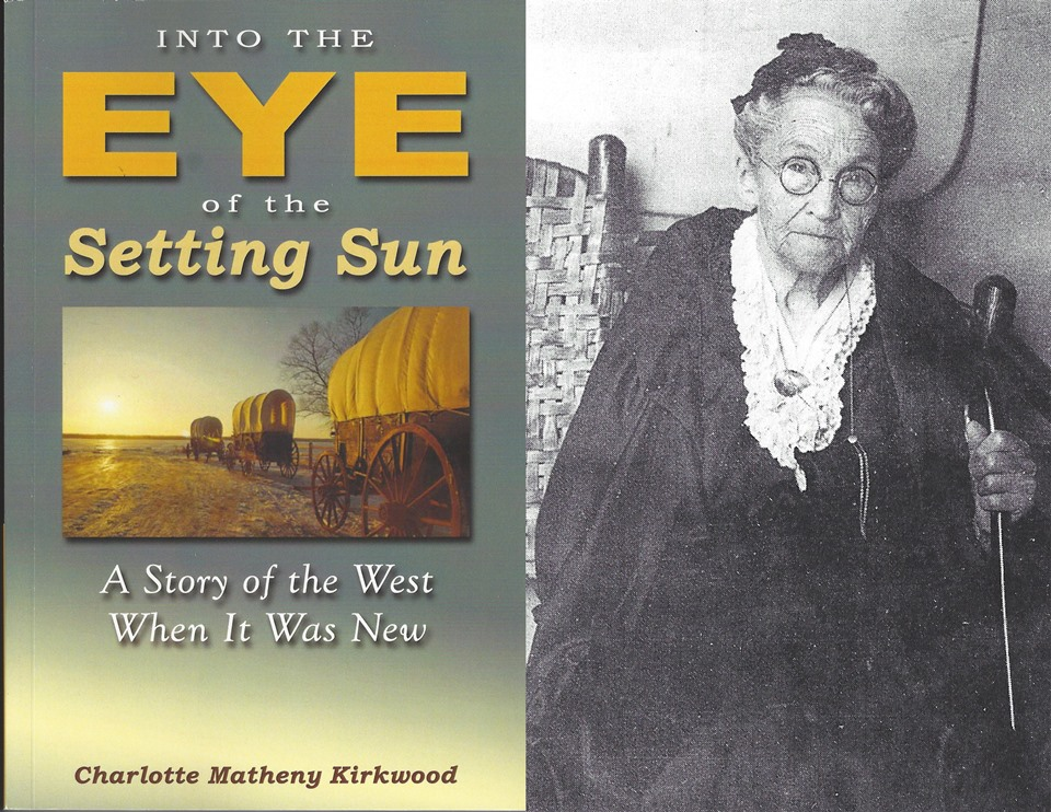 Into the Eye of the Setting Sun book cover and photograph of Charlotte Kirkwood