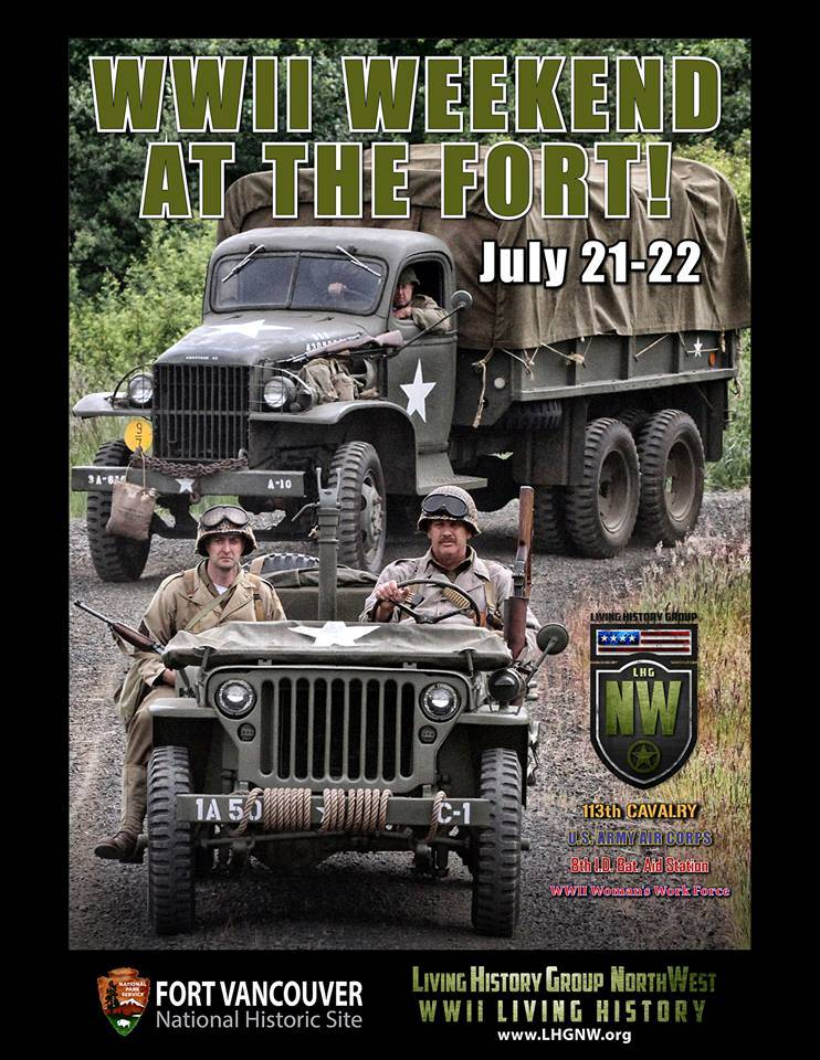 Poster showing World War II reenactors riding in jeeps.