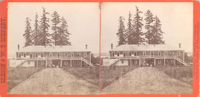 Stereoscope image of the north façade of the 1878 post guardhouse.