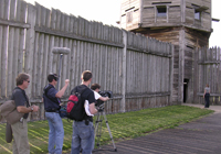 image of a film crew filming near the fort's bastion