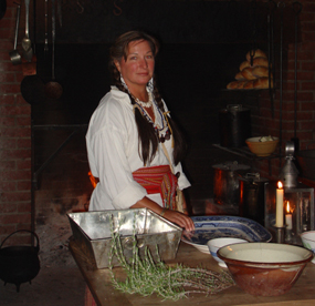 Volunteers demonstrate nineteenth century lifeways in many buildings at Fort Vancouver, including the Kitchen.