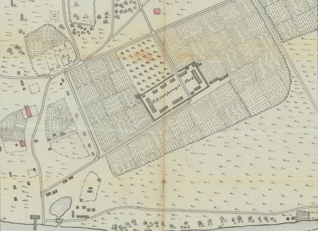 Excerpt from historic map of Fort Vancouver(Feb1854) showing the HBC village and stockade