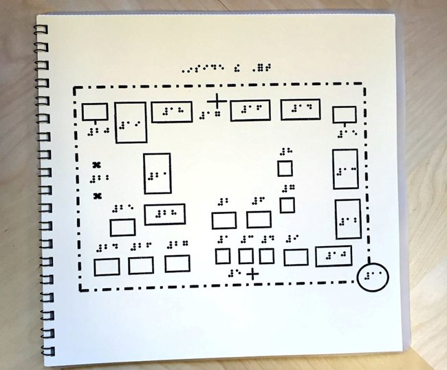 Photo of Braille map of Fort Vancouver.
