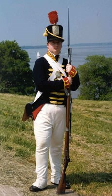 Photo of re-enactor in War of 1812 clothing