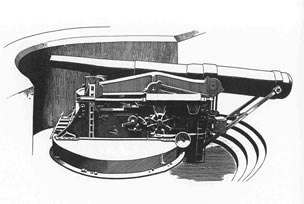 10-inch gun on disappearing carriage (NPS drawing)