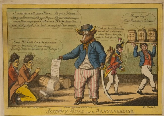 Johnny Bull in Alexandria. This cartoon makes reference to the artillery batteries under the command of Capt. David Porter and Capt. Oliver Hazard Perry.