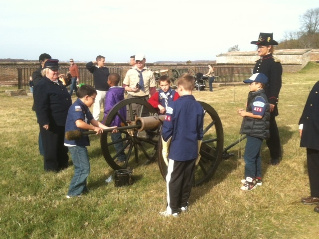 St. Anne's Church Boy Scout Pack 624, Arlington, VA ,drilling on the mountain howitzer.