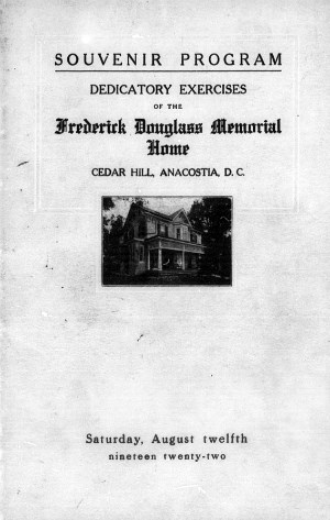 "A black and white photograph of the Douglass Home with the words ""Souvenir Program"" over it"