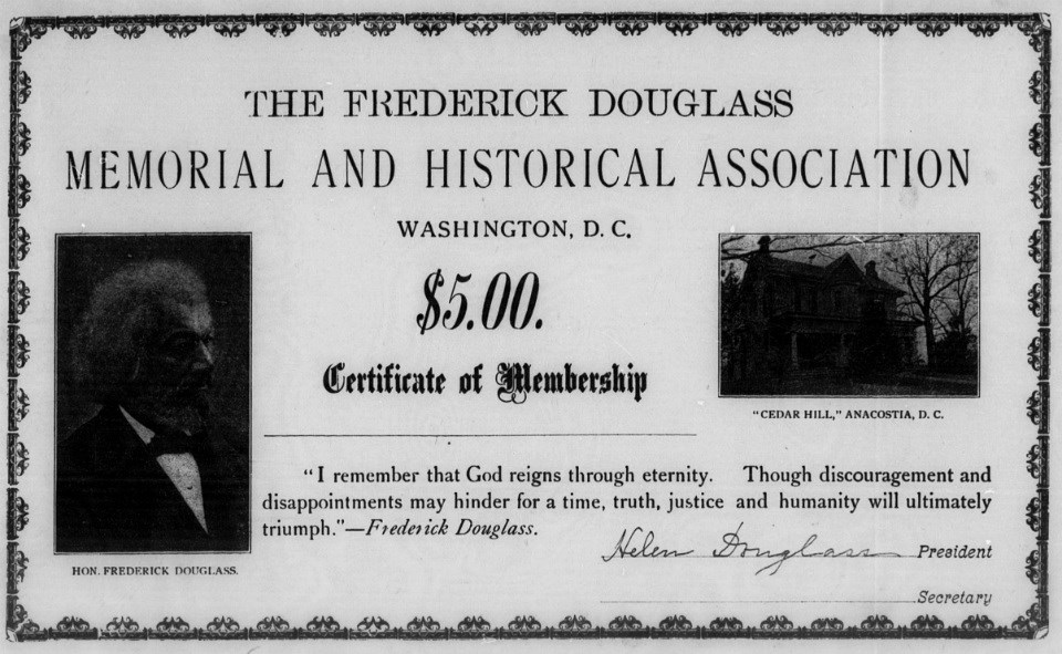 An early 1900s certificate for membership in the Frederick Douglass Memorial and Historical Association