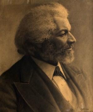 A charcoal drawing of Frederick Douglass